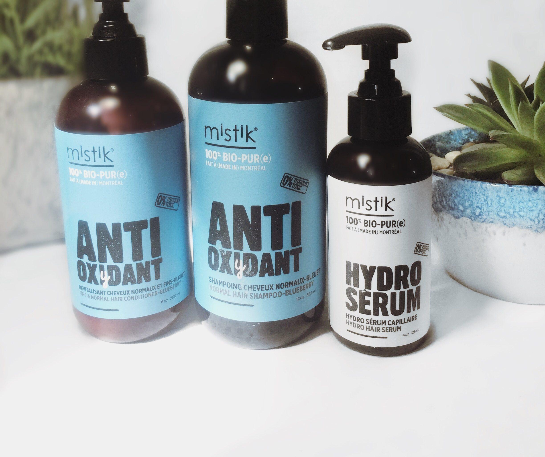 Shampoing et revitalisant anti-oxydant pour cheveux normaux de Mistik haircare ainsi que leur hydro-sérum